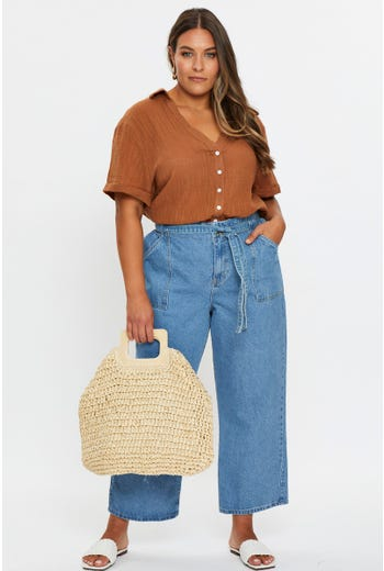Plus High Rise Waist Elastic Crop Jeans