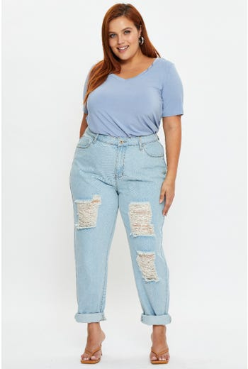 Plus Mid Rise Distress Boyfriend Jeans
