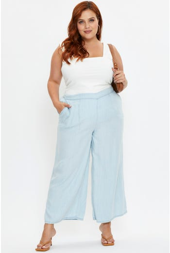 Plus High Rise Wide Leg Chambray Denim Crop Jeans