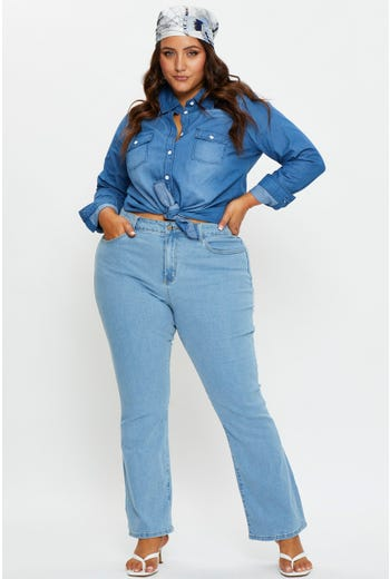 Plus High Waist Flare Denim Jeans