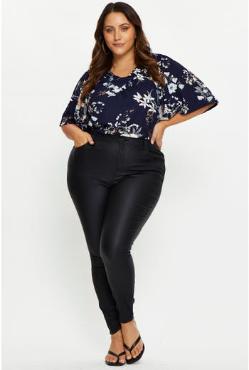 Plus High Rise Wet look Jeans