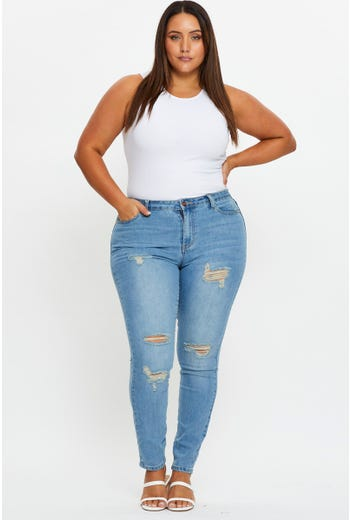 Plus Mid Rise Multi Rips Jeans