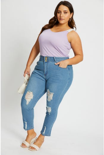 Plus Button Front Distressed Denim Skinny Jean