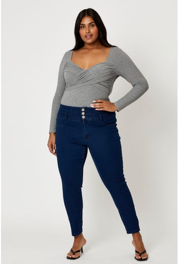 Plus High Waist 3 Buttons Skinny Jeans