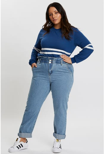 Plus High Waisted Paperbag Jeans