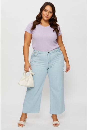Plus High Waist Wide Leg Crop Jeans
