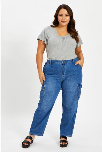 Plus High Rise Cargo Denim Jeans