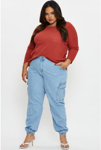 Plus High Waist Cargo Denim Jeans