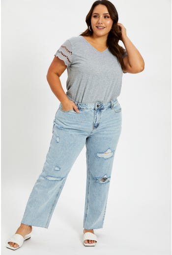 Plus Mid Rise Boyfriend Denim Jeans