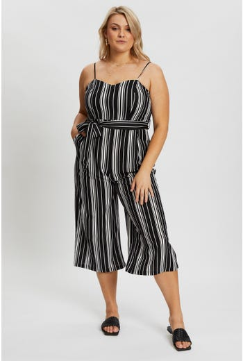 Plus Sleeveless Stripe Wide Leg Jumpsuit