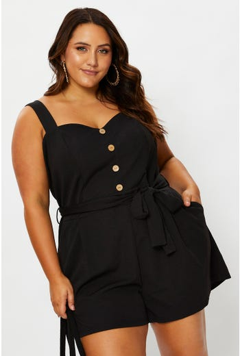 Plus Sleeveless Button Front Playsuit