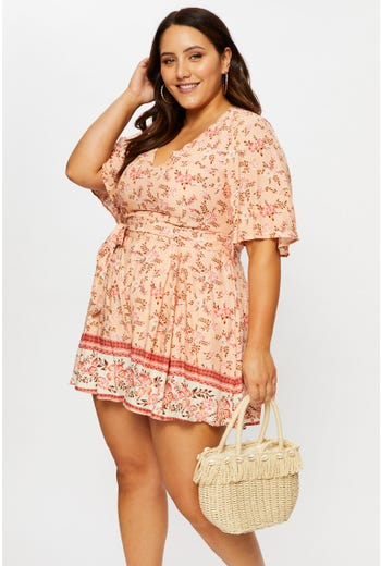 Plus Bell Sleeve Playsuit