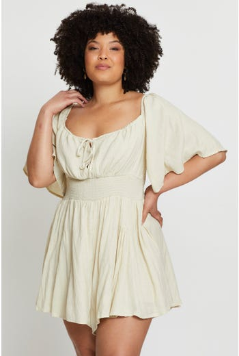 Plus Wing Sleeve Gathered Bust Playsuit