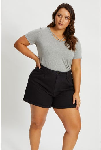 Plus Pleated Relaxed Shorts