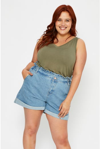 Plus High Rise Ruffle Detail Relaxed Shorts