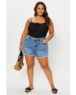 Plus Mid Rise Raw Hem Denim Shorts
