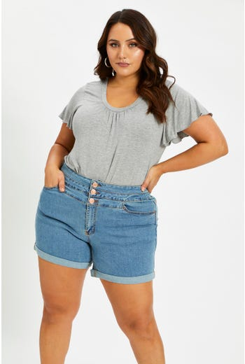 Plus High Waist 3 buttons Denim Shorts