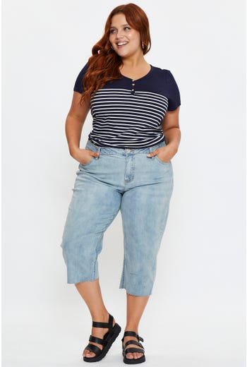 Plus Mid Rise Stretch Denim Cropped Jeans