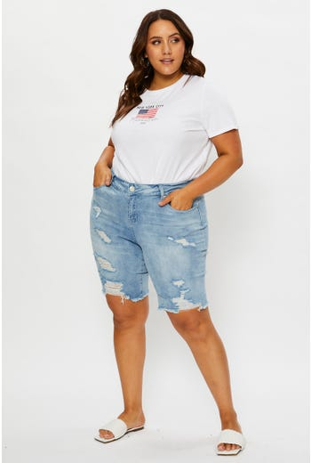 Plus Mid Rise Knee Length Stretch Denim Shorts