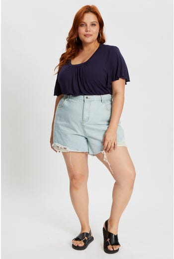Plus High Rise Relaxed Shorts