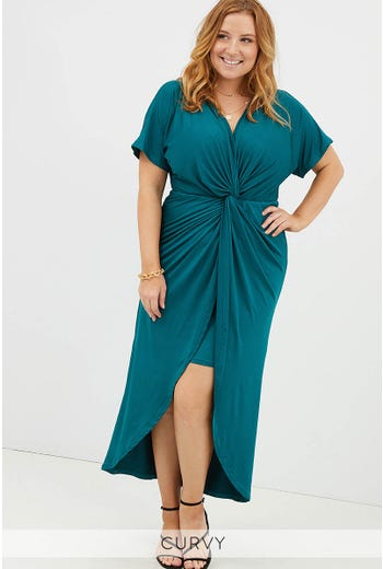 PLUS TIE FRONT MAXI DRESS