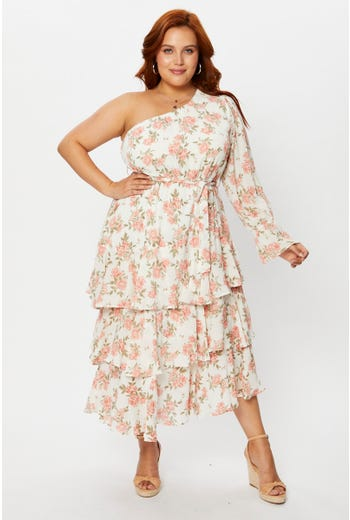 Plus Floral Print One Shoulder Tiered Midi Dress