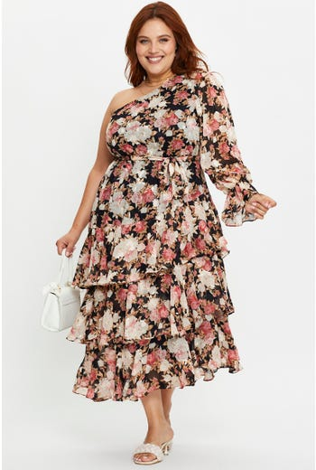 Plus Floral One Shoulder Tiered Midi Dress
