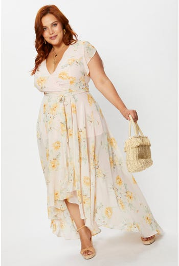 Plus Floral Print Wrap Midi Dress