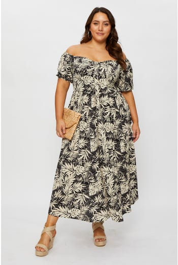 Plus Tropical Print Tie Front Off Shoulder Maxi Dress