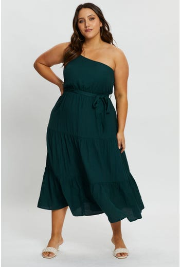 Plus One Shoulder Tiered Maxi Dress