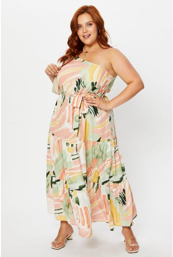 Plus Abstract Print One Shoulder Tiered Maxi Dress