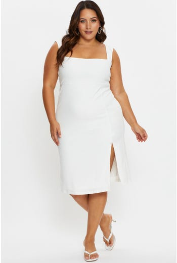 Plus Square Neck Front Split Pencil Dress