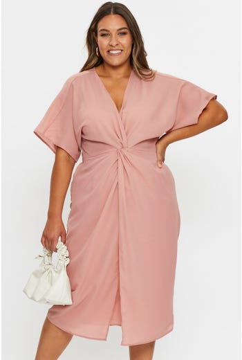 Plus Kimono Sleeve Twist Detail Midi Dress