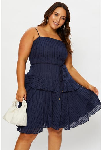 Plus Asymmetric Frill Square Neck Dress