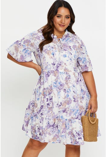 Plus Floral Print Frill Detail Skater Dress