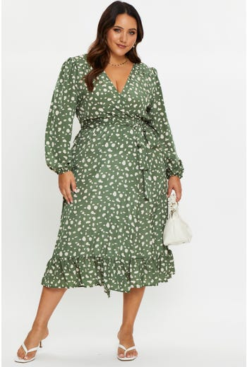 Plus Satin Polka Dot Frill Hem Midi Dress