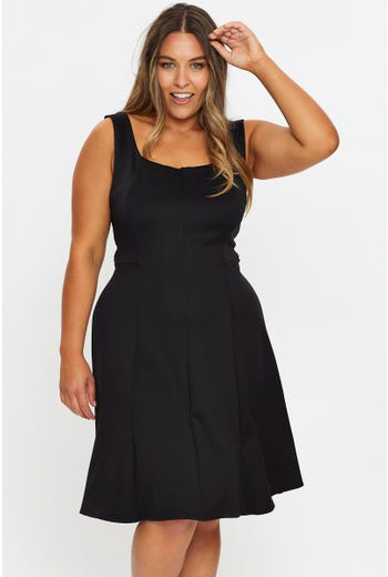 Plus Panel Detail Ponte Skater Work Dress