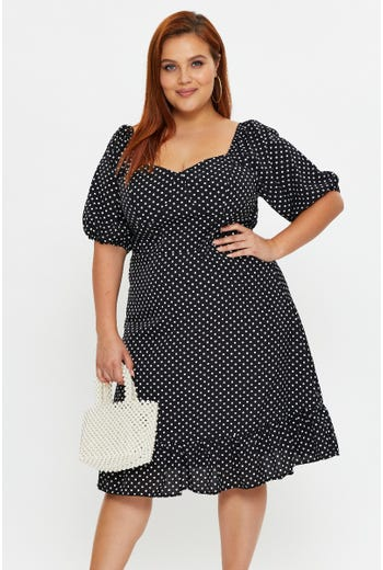 Plus Polka Dot Bustier Midi Dress