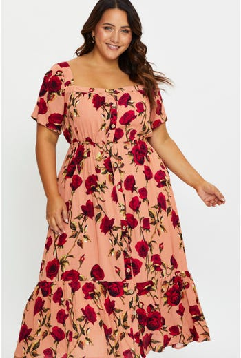 Plus Floral Print Tiered Skirt Midi Dress