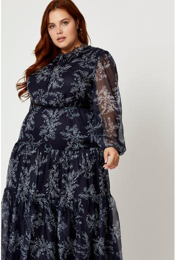 Plus Floral Tiered Midi Skater Dress