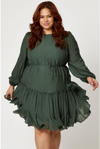 Plus Long Sleeve Frill Detail Skater Dress