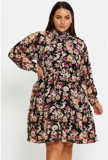 Plus High Neck Floral Print Skater Dress