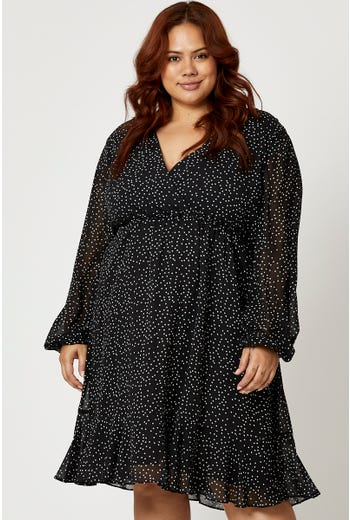 Plus Polka Dot Wrap Neck Skater Dress