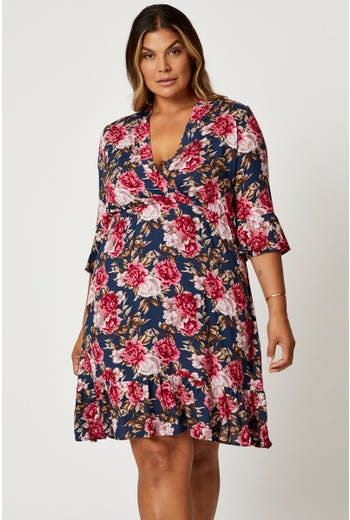 Plus Floral Print Ruffle Wrap Skater Dress