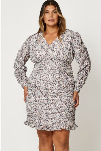 Plus Floral Shirred Long Sleeve Bodycon Dress