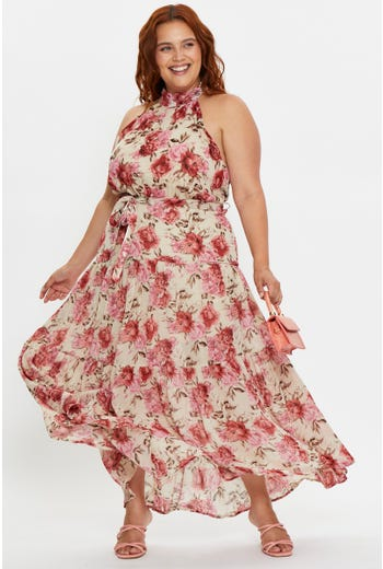 Plus Pink Floral Print Highneck Midi Skater Dress