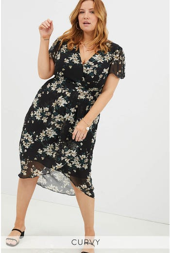 PLUS WRAP FLUTTER SLEEVE MIDI DRESS