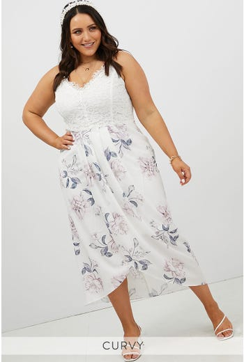 PLUS LACE TOP FLORAL WRAP DRESS