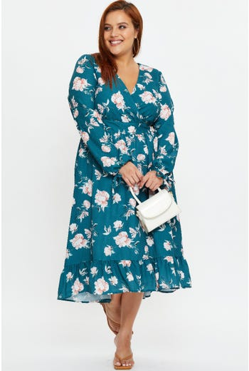 Plus FLORAL Hi-Lo Frill Hem Dress