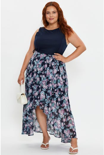 Plus Pleated Floral Skirt Midi Dress